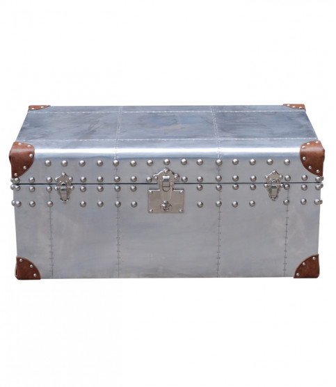 Metal and leather chest Constellation - Trunks - Meuble Aviateur