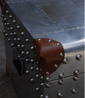 Metal and leather chest Constellation